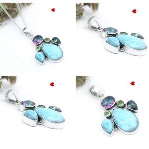 Mystic Topaz & LarimarSilver Chain Necklace Boho